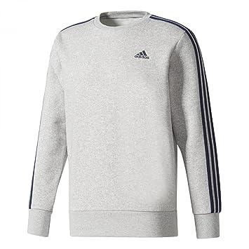 2cb6b94b191f adidas Herren Essentials 3-Streifen Sweatshirt, Medium Grey  Heather Collegiate Navy, M