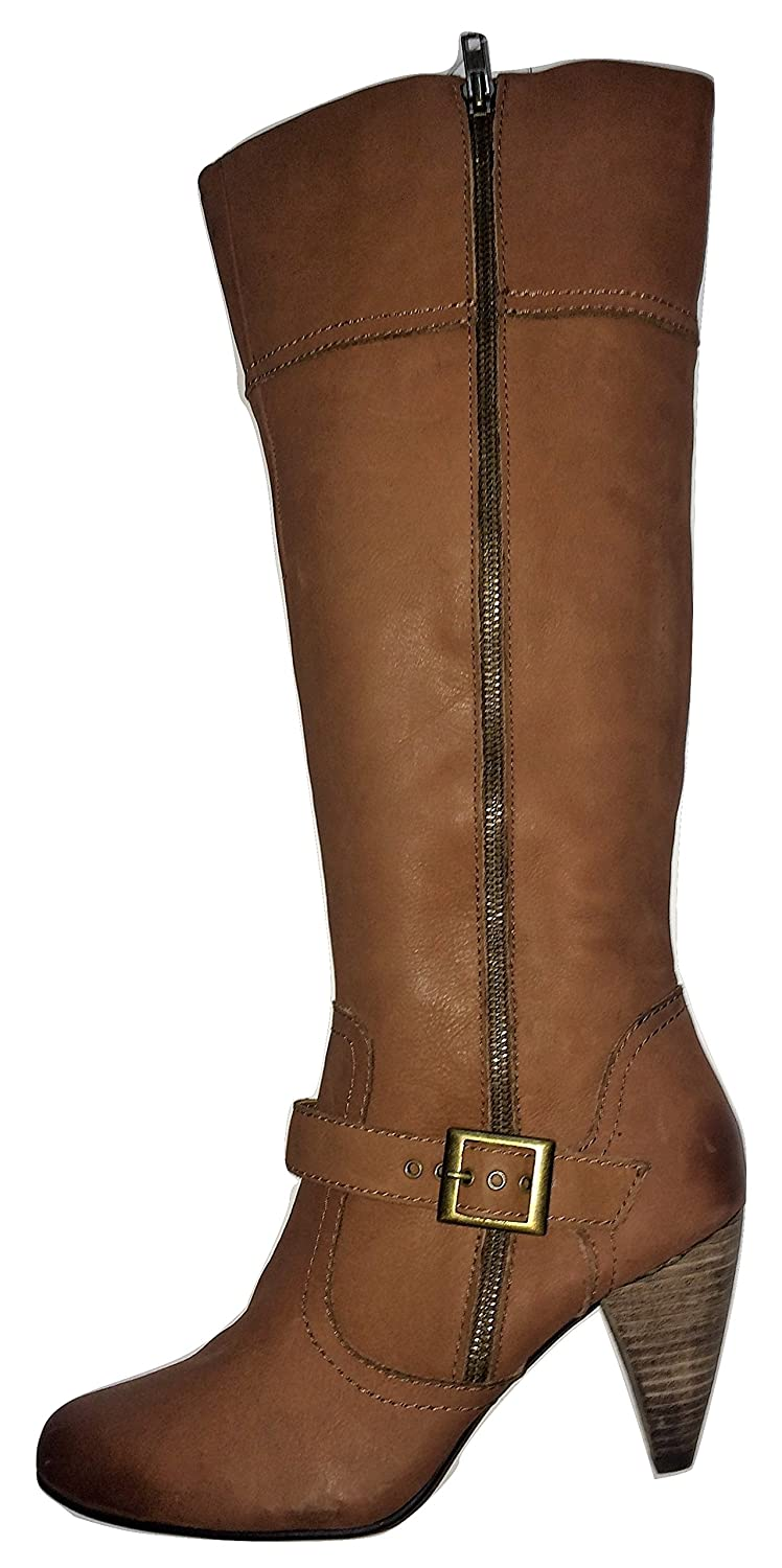 28b40ac9cc9 Next Leather Crossover Strap Double Zip Knee High Boots Light Brown   Amazon.co.uk  Shoes   Bags