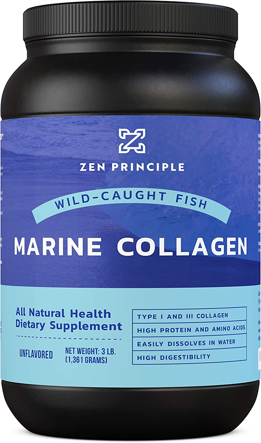 Extra Large 3 lb. Marine Collagen Peptides Powder. Wild-Caught Fish, Non-GMO. Supports Healthy Skin, Hair, Joints and Bones. Hydrolyzed Type 1 & 3 Protein. Amino Acids, Unflavored, Easy to Mix.