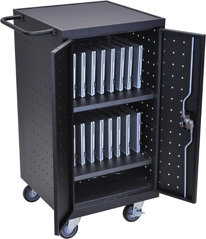 """LUXOR LLTP18-B Laptop Computer Charging Cart, 18"""", Black"""