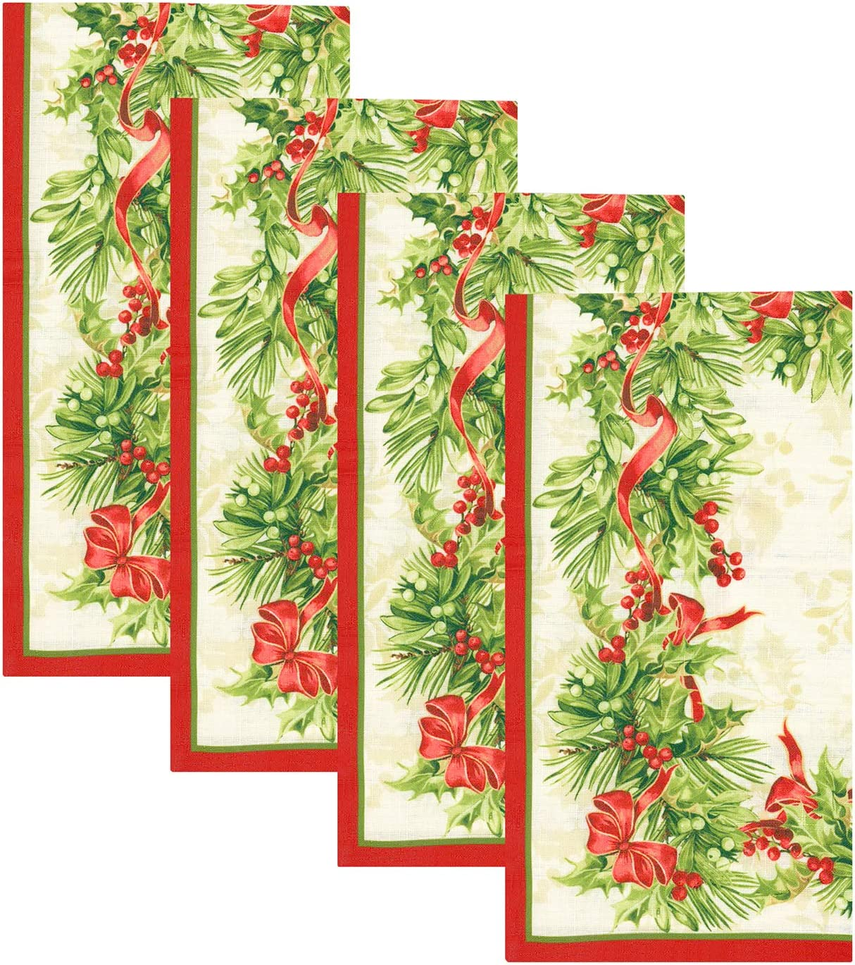 "Elrene Home Fashions Holly Traditions Fabric Napkins Set of 4, 17"" x 17"", Multi"