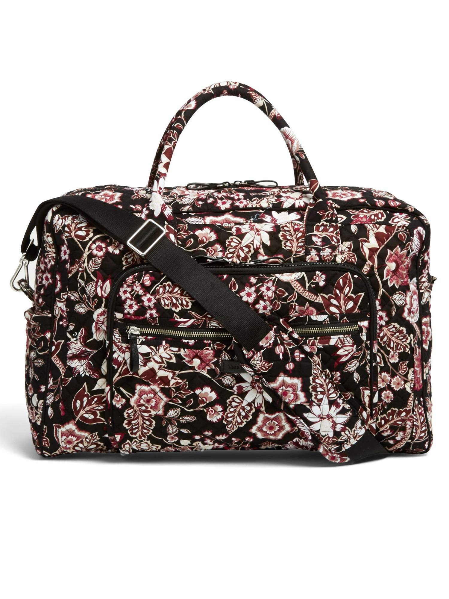 Vera Bradley Iconic Weekender Travel Bag, Signature Cotton, Desert Floral (Black/Vines Floral Neutral) by Vera Bradley (Image #3)