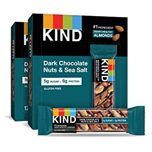 KIND Bars, Dark Chocolate Nuts & Sea Salt, Gluten Free, 1.4 Ounce Bars, 24 Count