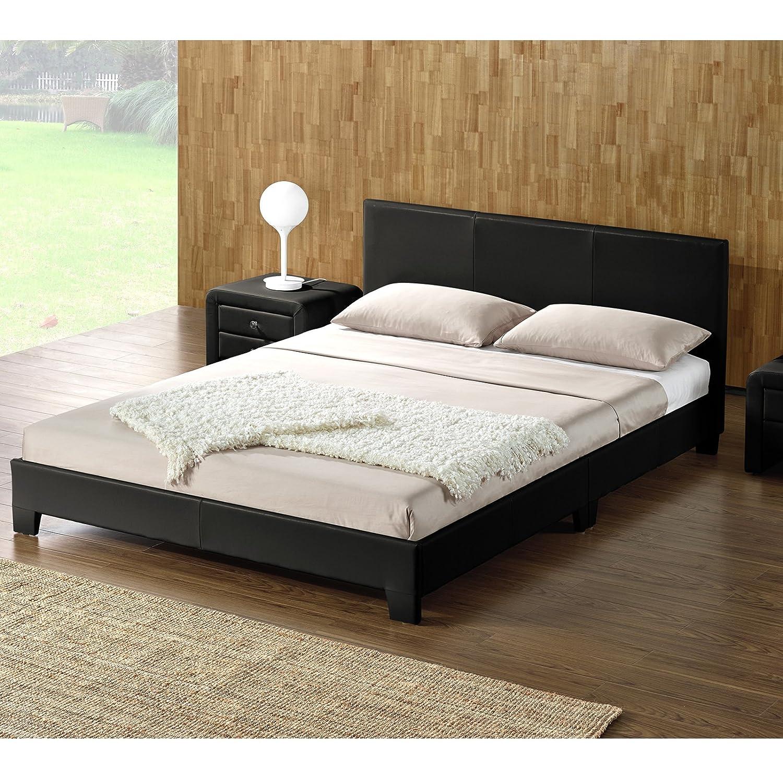 DI-LIFESTYLE Ohios Doppelbett Schwarz Oder Weiß Polsterbett Bett (Weiß, Lattenrost Kunstleder (Weiß, Bett 140 x 200 cm) 3d2112