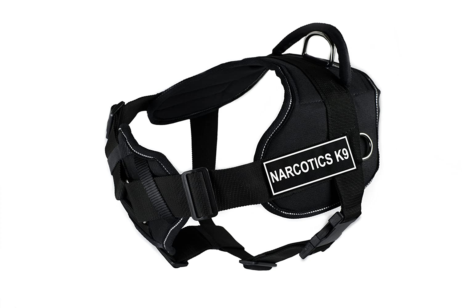 Dean & Tyler Fun Harness with Padded Chest Piece, Narcotics K9, Large, Black with Reflective Trim