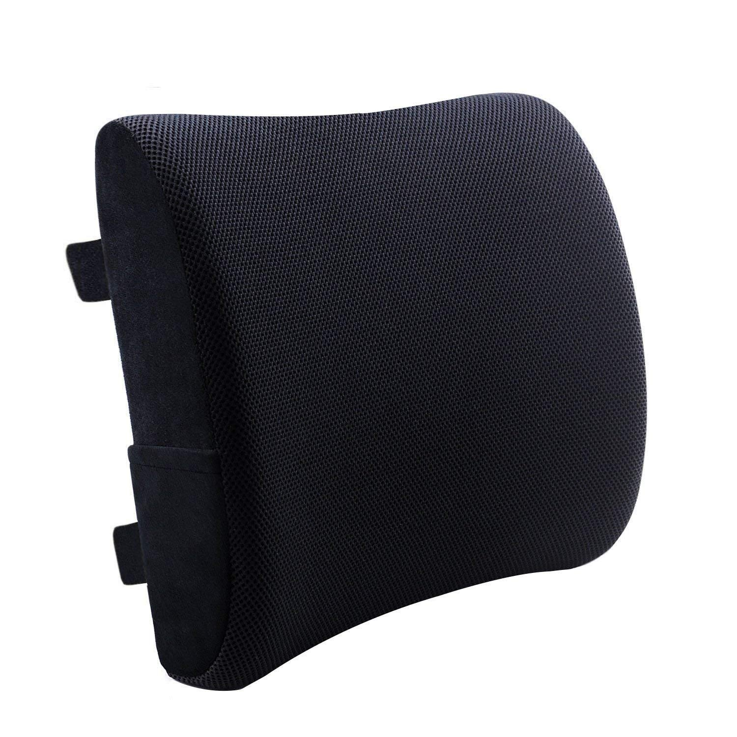 Dreamer Car Chair Cushion Back Support with Balanced Soft Memory Foam for Lower Back Pain Relief, Backrest with Non-slip Rubber Bottom and 2 Adjustable Straps for Computer/Office Chair, Black