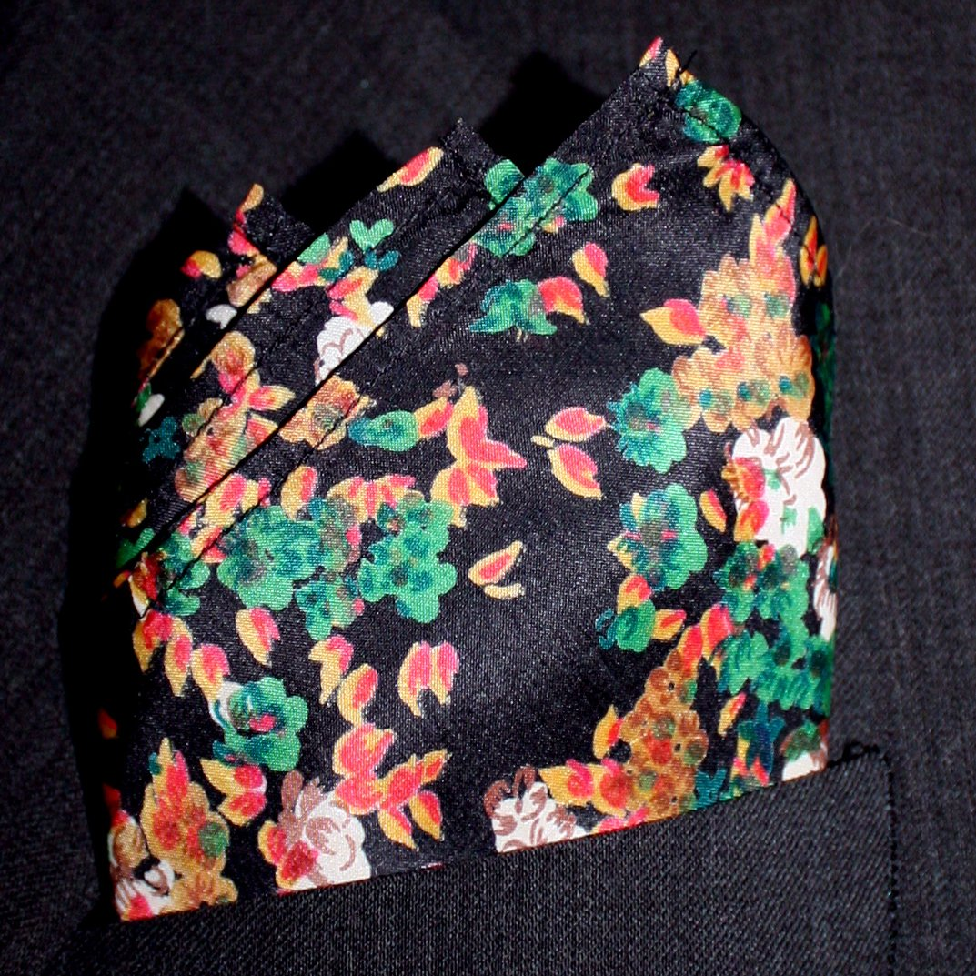 Maple Floral Silk Pocket Square Full-Sized 16x16