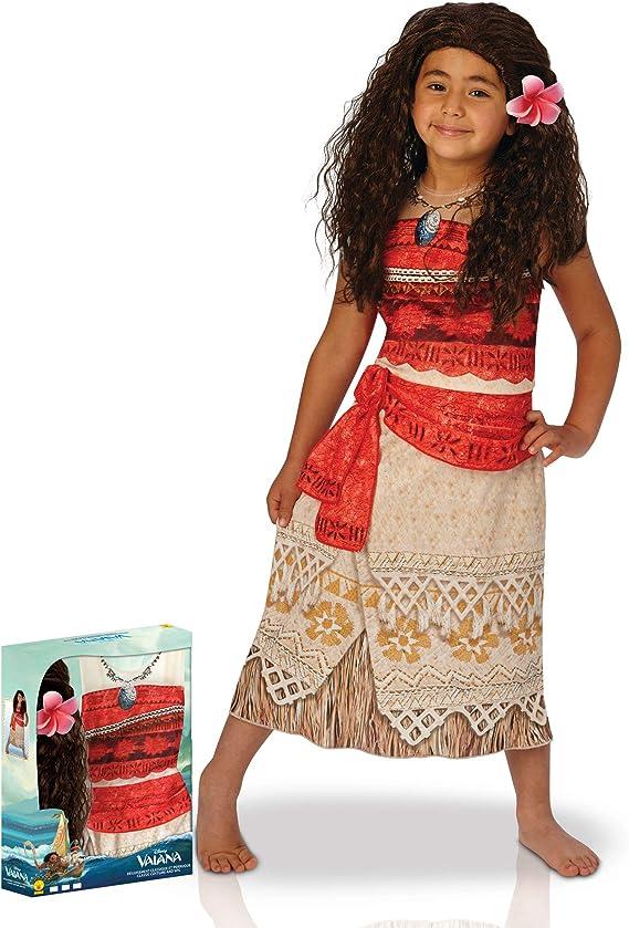 Generique - Disfraz clásico Vaiana con Peluca niña en Caja: Amazon.es: Juguetes y juegos