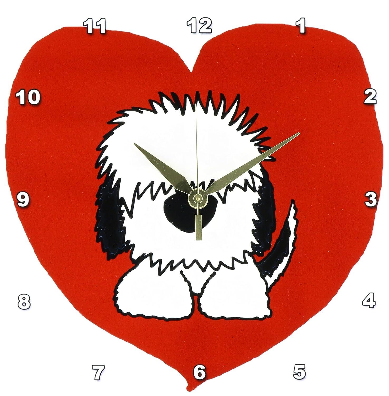 3dRose DPP_201825_1 Fun White Old English Sheepdog Puppy Dog and Red Heart Love Wall Clock, 10 x 10
