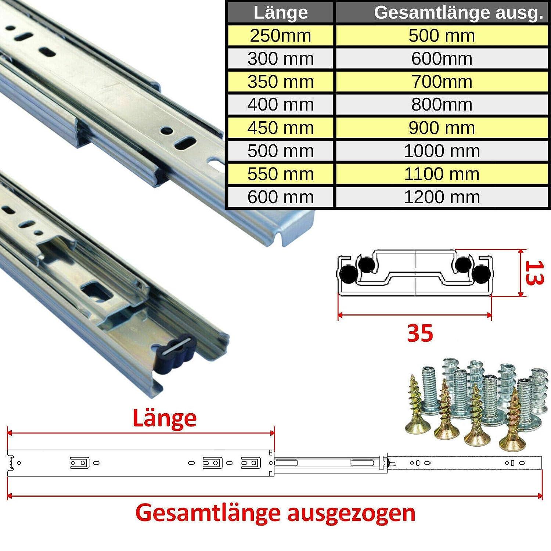 35 mm 1 par de gu/ías telesc/ópicas para cajones
