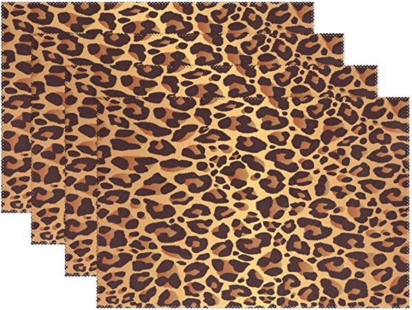 Amazon Com Wozo Bright Leopard Print Placemat Table Mat Animal Fur 12 X 18 Polyester Table Place Mat For Kitchen Dining Room 1 Piece Home Kitchen