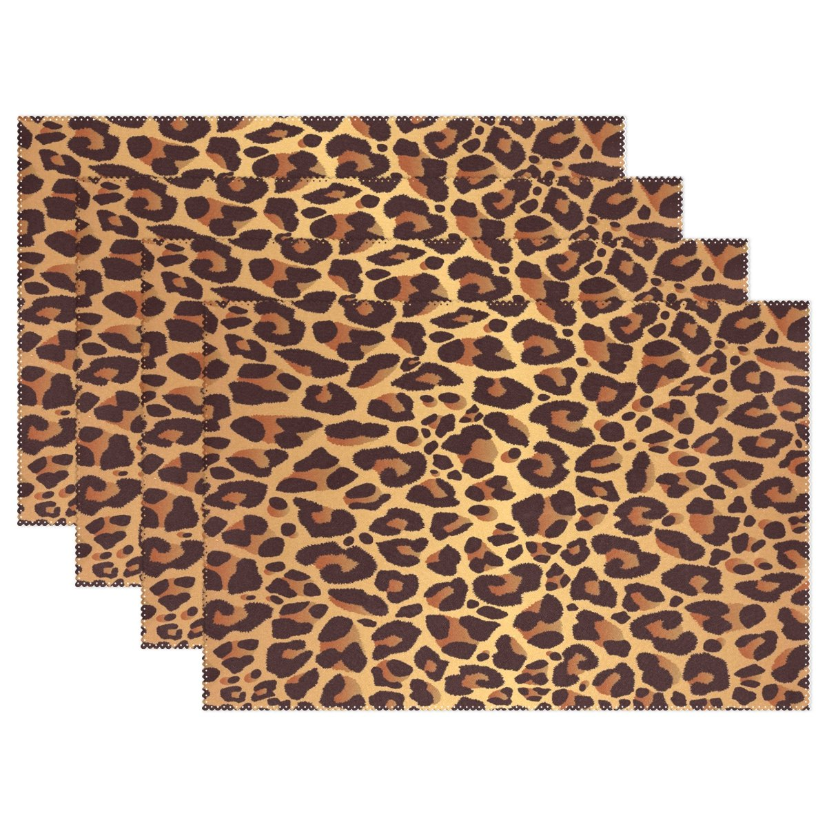 WOZO Bright Leopard Print Placemat Table Mat, Animal Fur 12'' x 18'' Polyester Table Place Mat for Kitchen Dining Room Set of 6