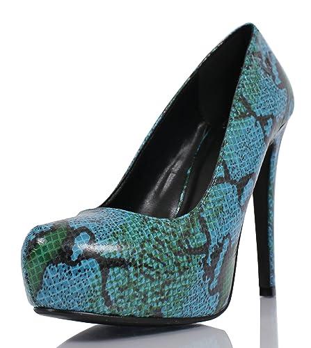 b92c708fd Delicious Yaris Python Snake Almond Toe Leather Hidden Platform High Heel  5 quot  Pump (Blue