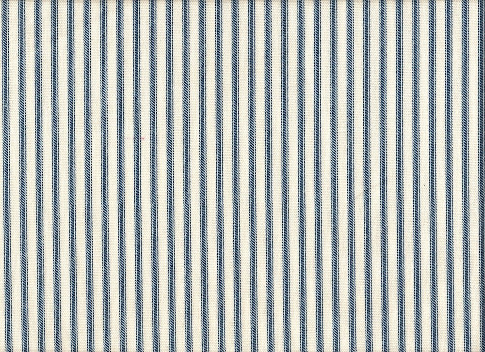 Gathered 18'' French Country Ticking Stripe Nautical Blue Queen Bedskirt Cotton