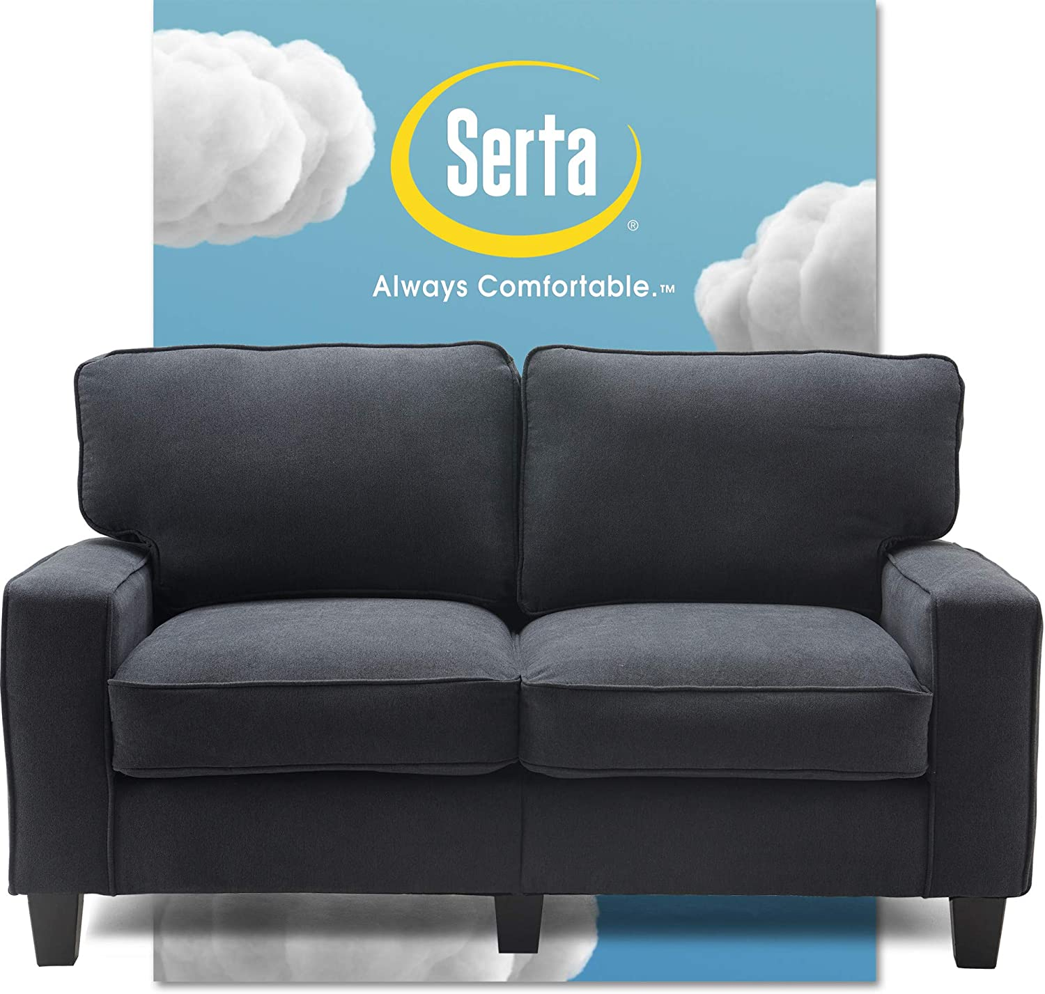 "Serta Palisades Upholstered Sofas for Living Room Modern Design Couch, Straight Arms, Soft Fabric Upholstery, Tool-Free Assembly, 61"" Loveseat, Charcoal"
