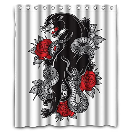nlbh diseños Pantera Snake rosas tatuaje graphic tela de poliéster ...