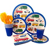 Cars &Trucks Birthday Party Supply Pack! Bundle Includes Paper Plates, Napkins, Cups & Silverware for 8 Guests