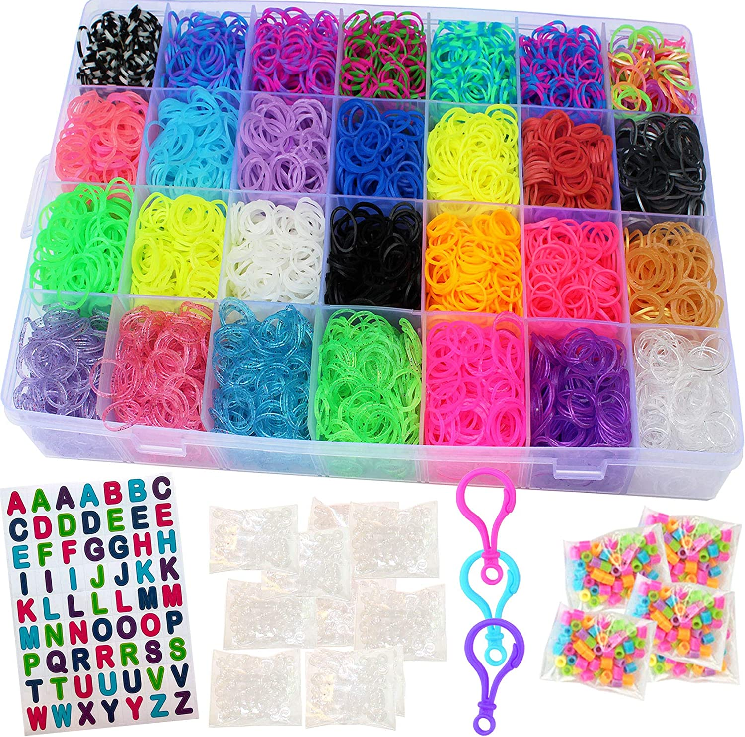 Rubber Bands Loom Band Bracelet Refill Kids Rainbow Craft Clip Hair Accessories