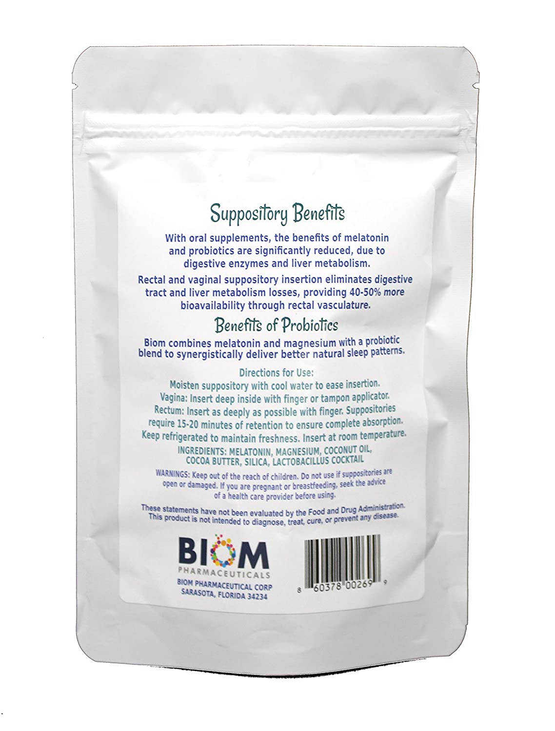 Amazon.com: Biom Sleep Suppository: Melatonina + Magnesio + ...