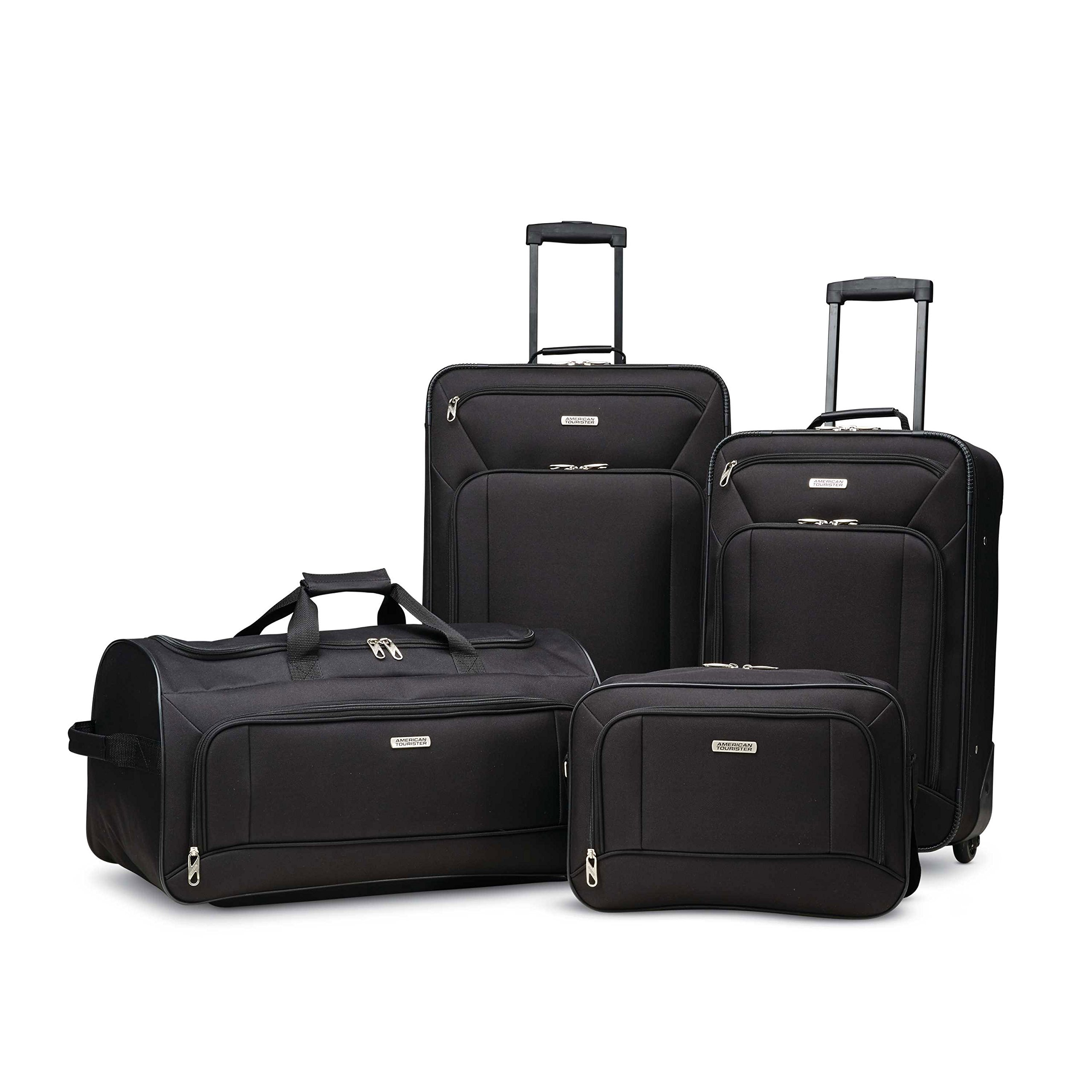 American Tourister Fieldbrook Xlt 4pc Set (Bb/Wh Dfl/ 21/25 Upright), Black by American Tourister (Image #1)