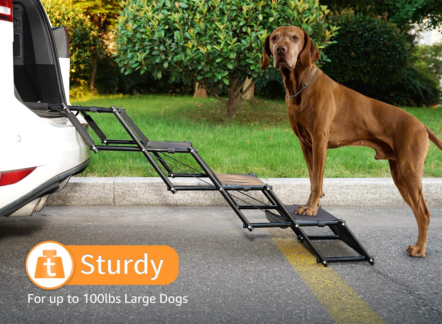 Dog Car Step Stairs Foldable - SUKI&SAMI Metal Frame Folding Dog Ramp for Car,Lightweight Portable Large Dog Ladder,for Dogs and Cats,SUVs and Trucks,Couch and Bed,Protect Pets' Joint and Knee by SUKI&SAMI
