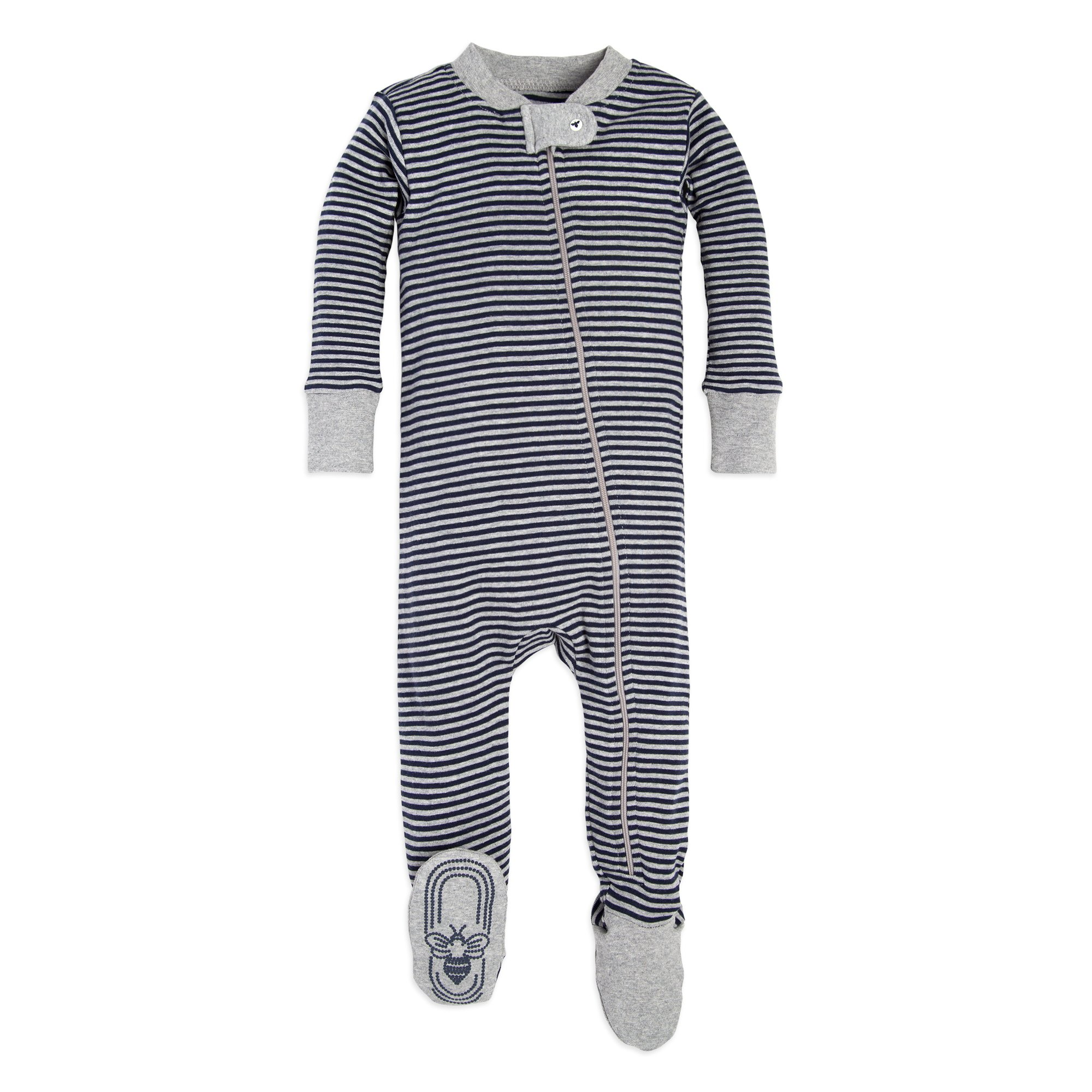 Burt's Bees Baby Baby 1-Pack Unisex Pajamas, Zip-Front Non-Slip Footed Sleeper PJs, Organic Cotton, Midnight Stripe, 12 Months