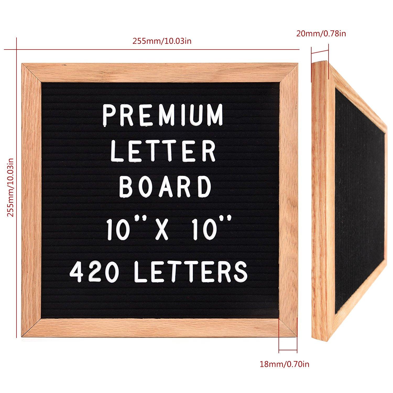 nero StillCool Letter Board Letter Board 10x10 pollici Lettere intercambiabili in legno massello Premium con cornice incorniciata 435 lettere bianche in plastica con numeri e busta con lettere
