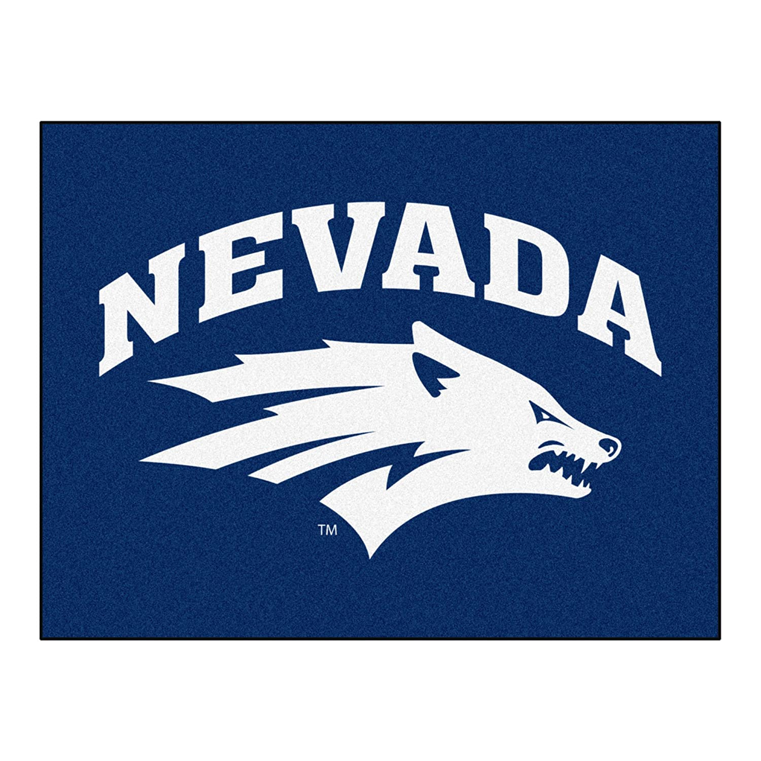 FANMATS NCAA University of Nevada Wolf Pack Nylon Face Basketball Rug 1003