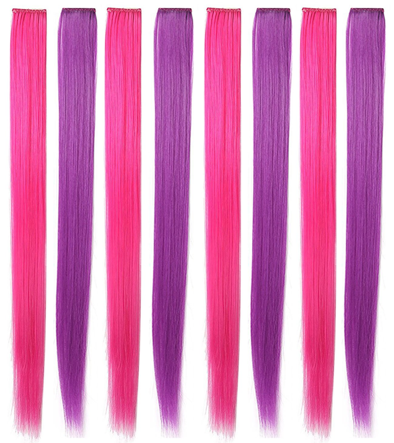 Rhyme 20'' 8PCS Pink Purple Hair Pieces for Girls Princess Party Highlight Colored Hair Extensions Clip in/On for Girls and Kids Wig Pieces for Dolls by Rhyme