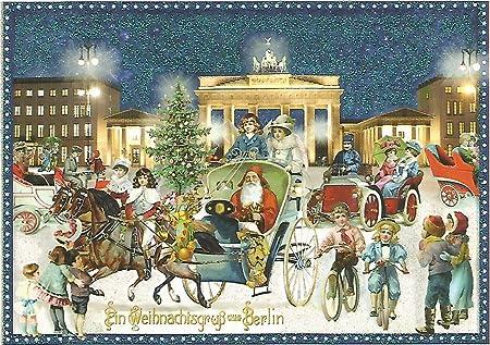 Weihnachtsgrüße Aus Berlin.Nostalgische Weihnachtskarte Weihnachten In Berlin Brandenburger