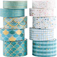 10 Rolls Washi Tape Set, Foil Gold Floral Pattern Decorative Masking Washi Tapes for Scrapbook, Gift Wrapping and DIY…