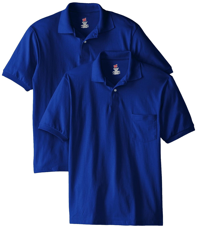 Hanes Mens Short Sleeve Jersey Pocket Polo, Deep Royal, XX-Large ...