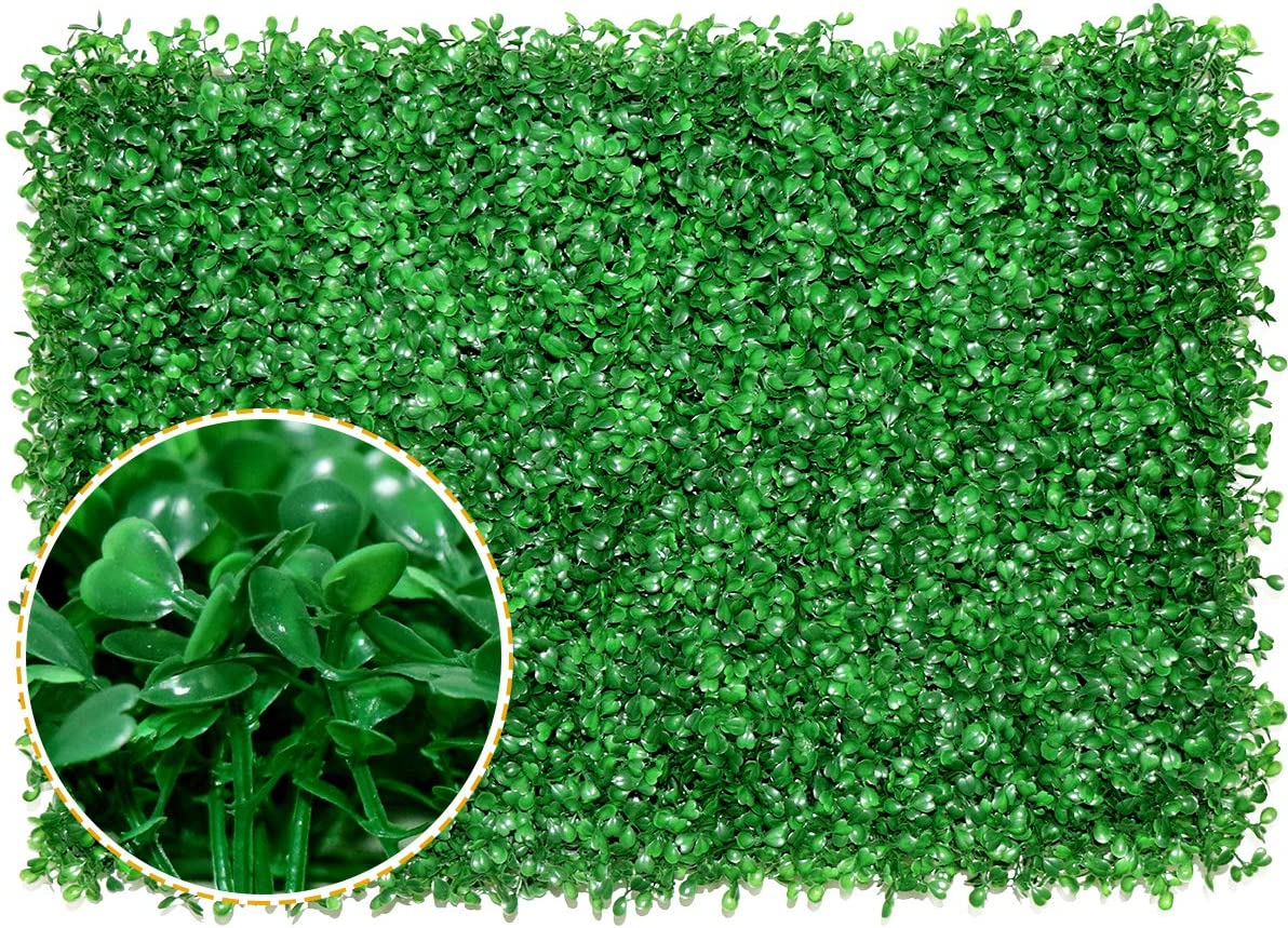 Boxwood Panels - 12 PCS Artificial Boxwood Mats Hedges Plants, UV Protected Greenery Wall Backdrop for Outdoor Garden Fence Privacy Screen and Indoor Wall Decor