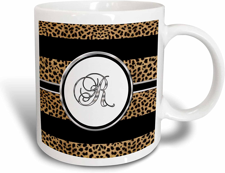 3dRose Elegant Cheetah Animal Print Monogram Letter R Two Tone Mug, 11 oz, Red