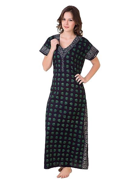 beautiful in colour new collection exclusive range Masha Women's Cotton-Nighty-(Batik Print)