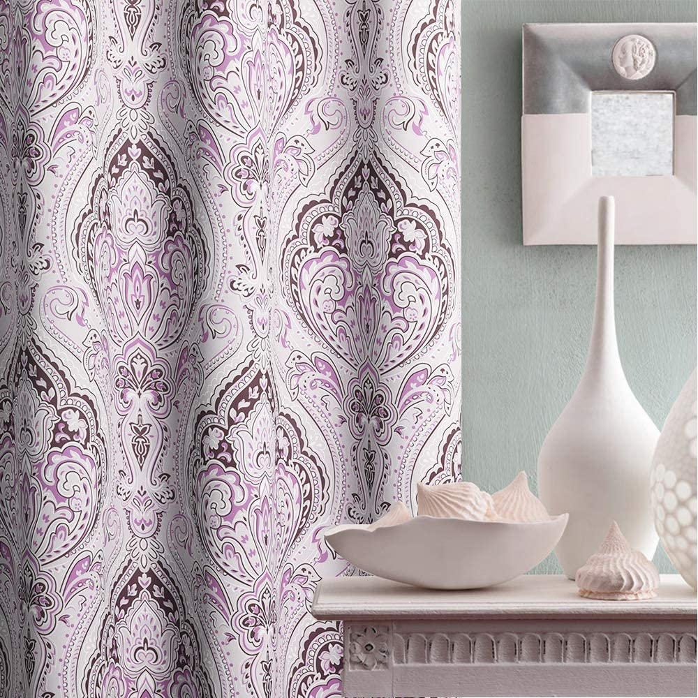 KGORGE Home Decoration Printing Damask Pattern Curtains, Multicolor Print Medallion Window Curtains Draperies Set for Living Room/Home Office, Lilac, 52 inches Width x 84 inches Length, 1 Pair