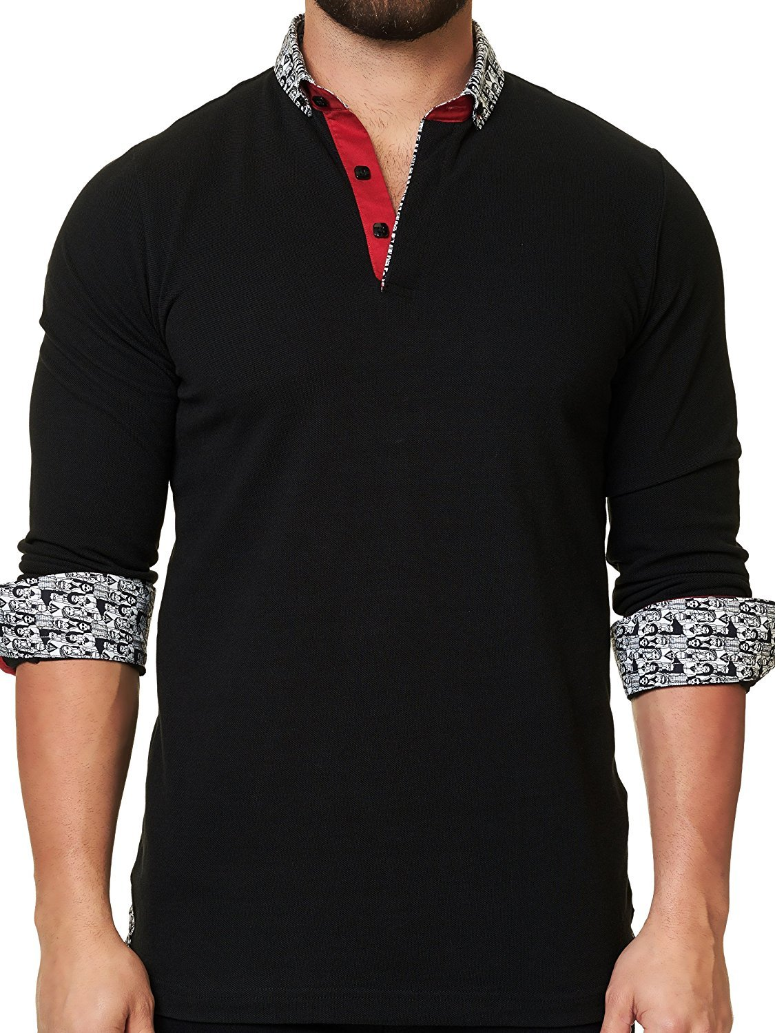 Mens Designer Polo - Stylish & Trendy Sport Shirts - Solid Black - Tailored Fit