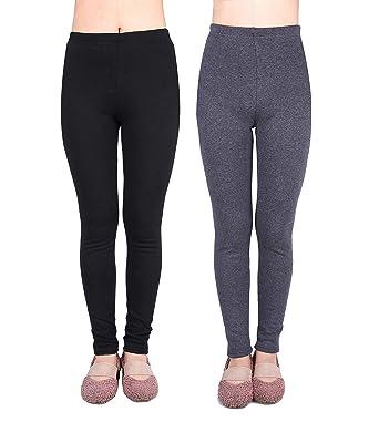 6ba5aa3e896fdc IRELIA 2 Pack Girls 100% Cotton Fleece Lined Warm Leggings for Winter BHG  XS Black