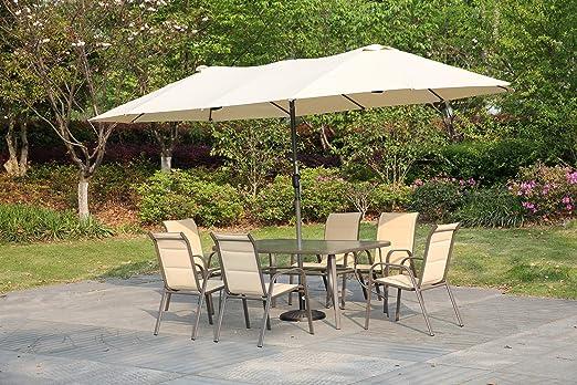 Angel Living Sombrilla Parasol Doble para Jardín, Parasol de Tela de Poliéster, Sombrilla Gigante para Playa Terrasa Patio, Protección al Solar UV, 4.6x2.7x2.4 m (Beige): Amazon.es: Jardín