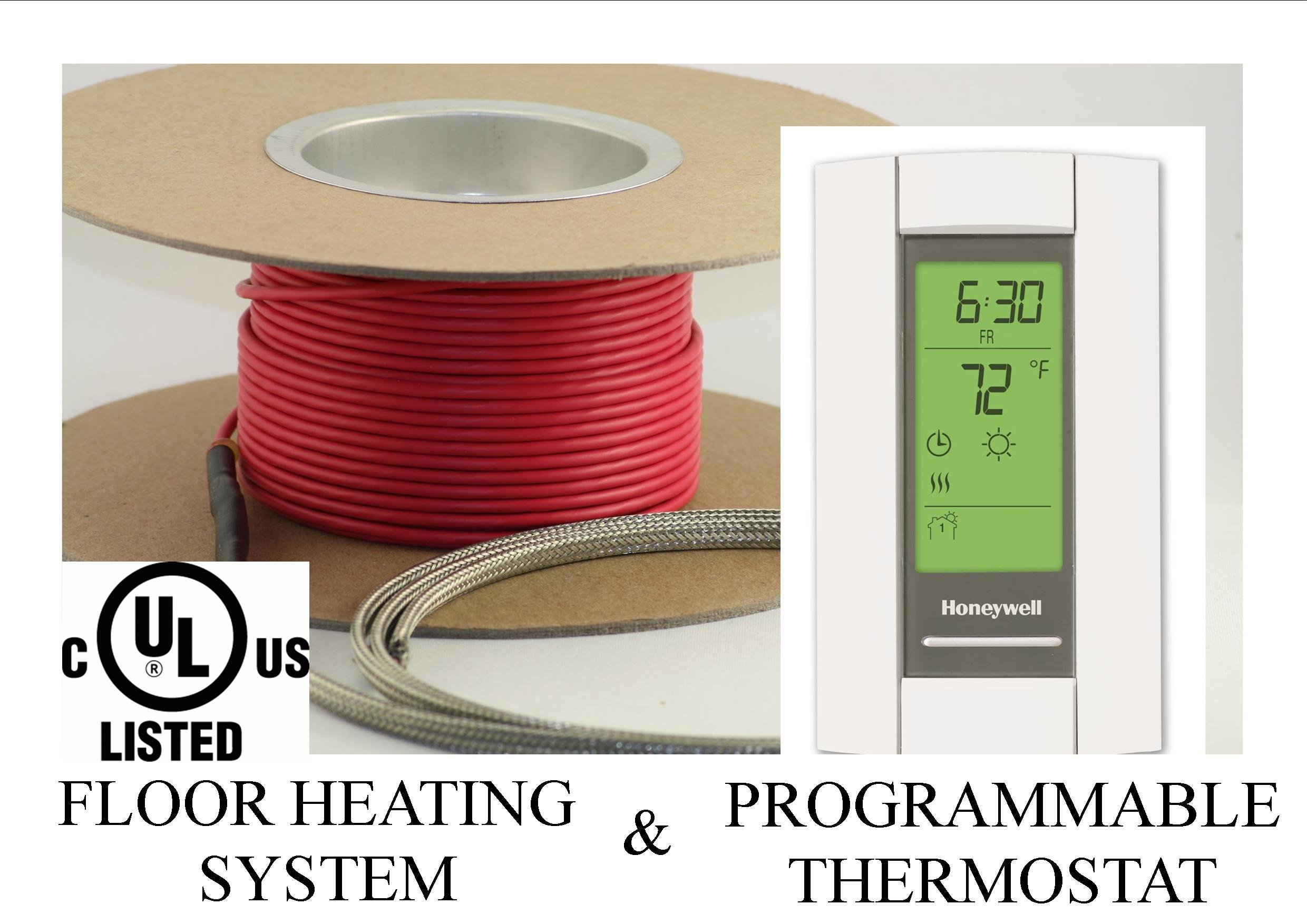 60 Sqft Cable Set, Electric Radiant Floor Heat Heating System with Aube Digital Floor Sensing Thermostat by Warming Systems