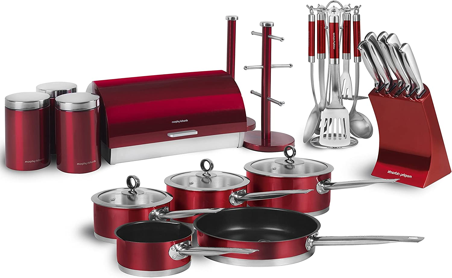 Morphy Richards Accents 9 Piece Kitchen Set, Red, Stainless Steel,  9x9.9x9 cm