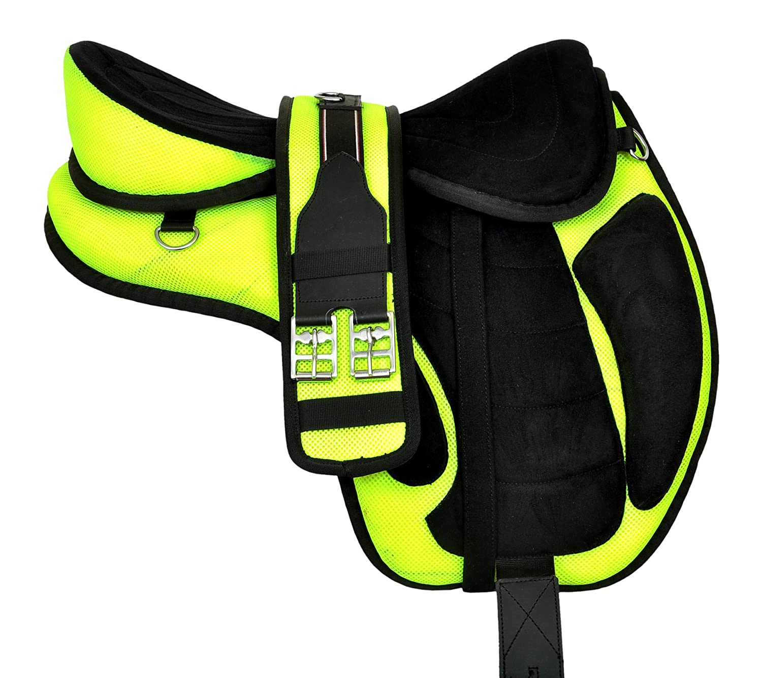 Manaal Enterprises Multicolored Synthetic Treeless FREEMAX English Horse Saddles Tack Get Matching Girth & Leather Straps Size 14' to 18' Inches Seat Available (17' Inches Seat)