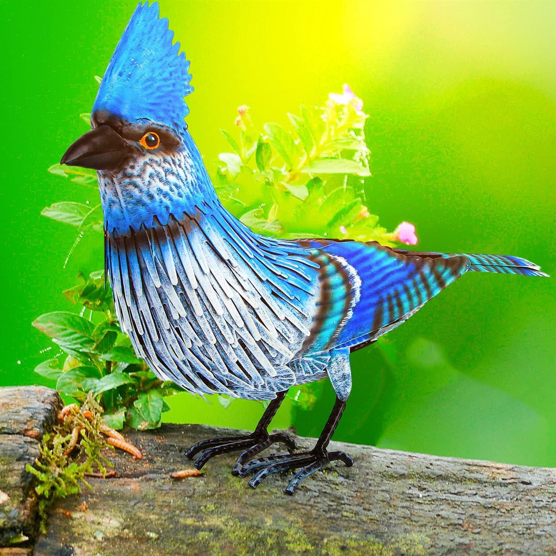 Blue Jay Metal Bird Garden Decor - Large Blue Bird Decoration - Metal Yard Art for Garden, Porch - Handmade, Hand Painted Weatherproof Collectible w/ Unique Realistic Design