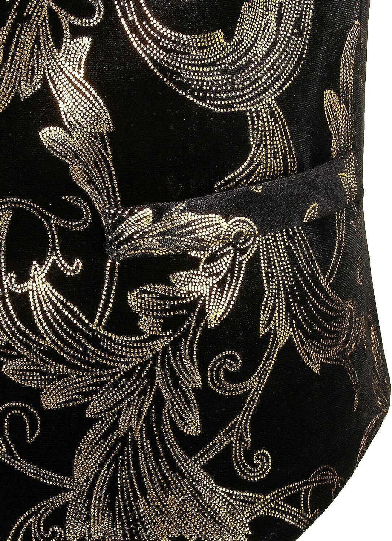 ZEROYAA Mens Hipster Metallic Paisley Printed Single Breasted V-Neck Suit Vest//Tuxedo Waistcoat