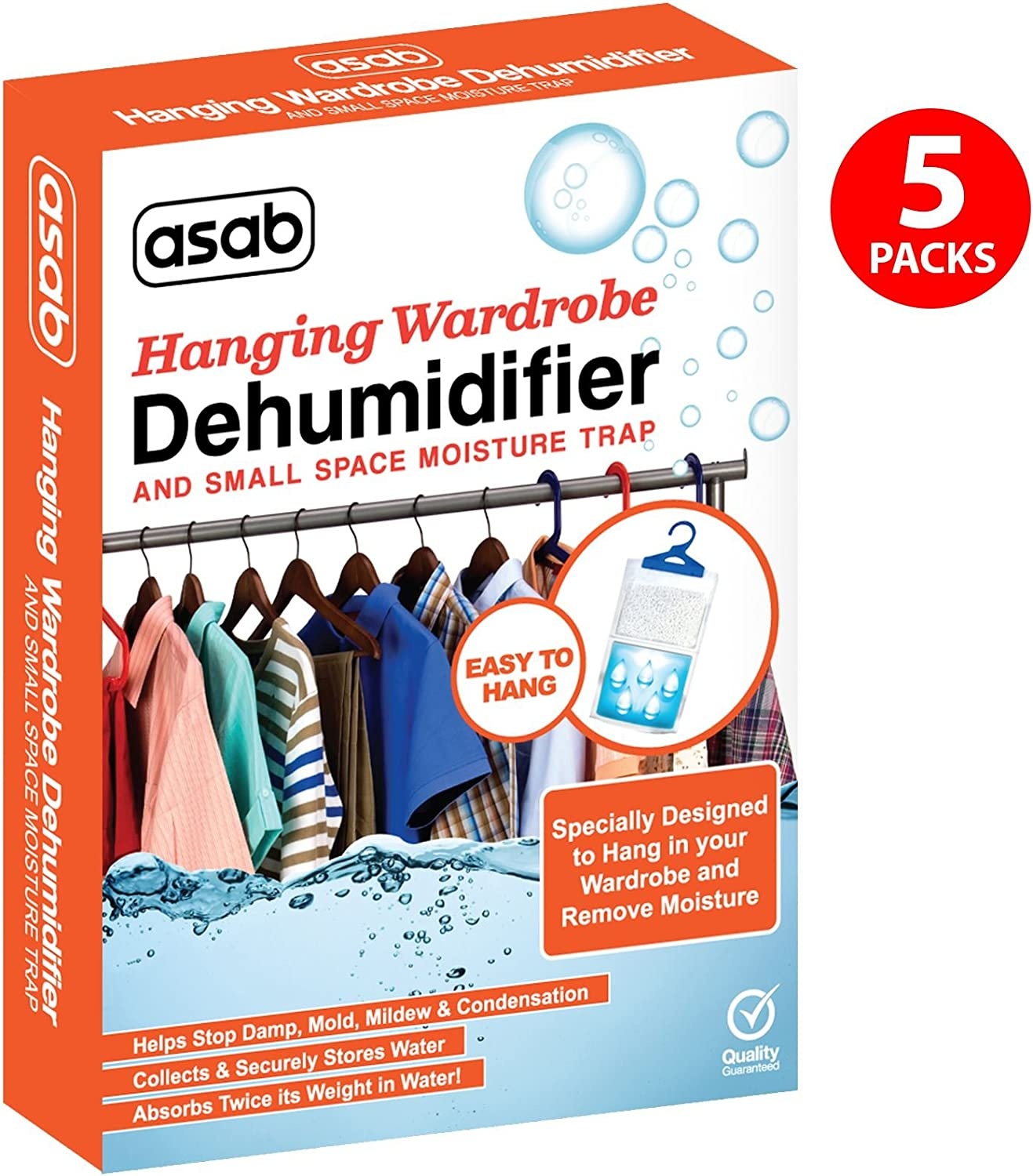 Wardrobe Dehumidifier Hanging Bags | Mini Moisture Absorber | Damp Trap Sachets | Humidity Catcher with Anti Mould Crystals | Closet Small Wet Remover