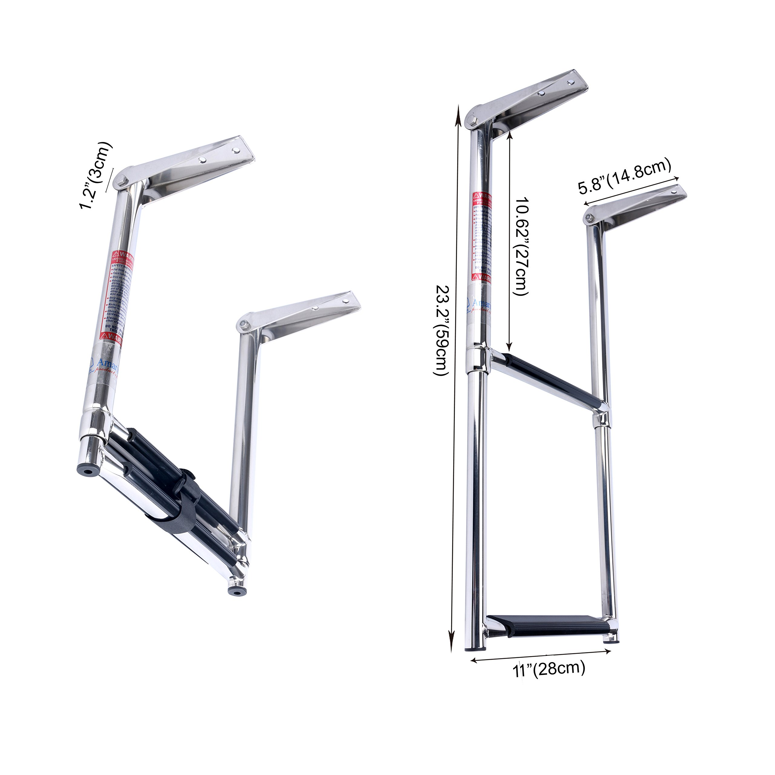 Amarine-made Stainless Steel Telescoping Boat Ladder, 2 Step