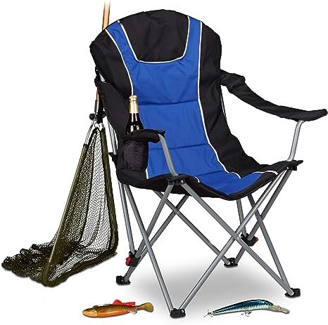 Relaxdays Silla Plegable Camping con Respaldo Acolchado Ajustable, Azul y Negro, 72x90x108 cm