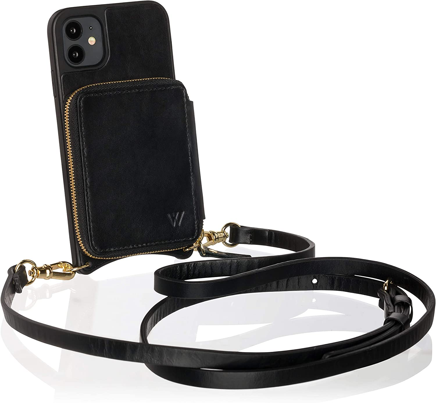 Wilken iPhone 11 Pro Crossbody Wallet Purse Case | Removable Wristlet and Shoulder Strap | Genuine Leather | Holds Cash and Credit Cards in Zipper Pouch (Black, 11 Pro)