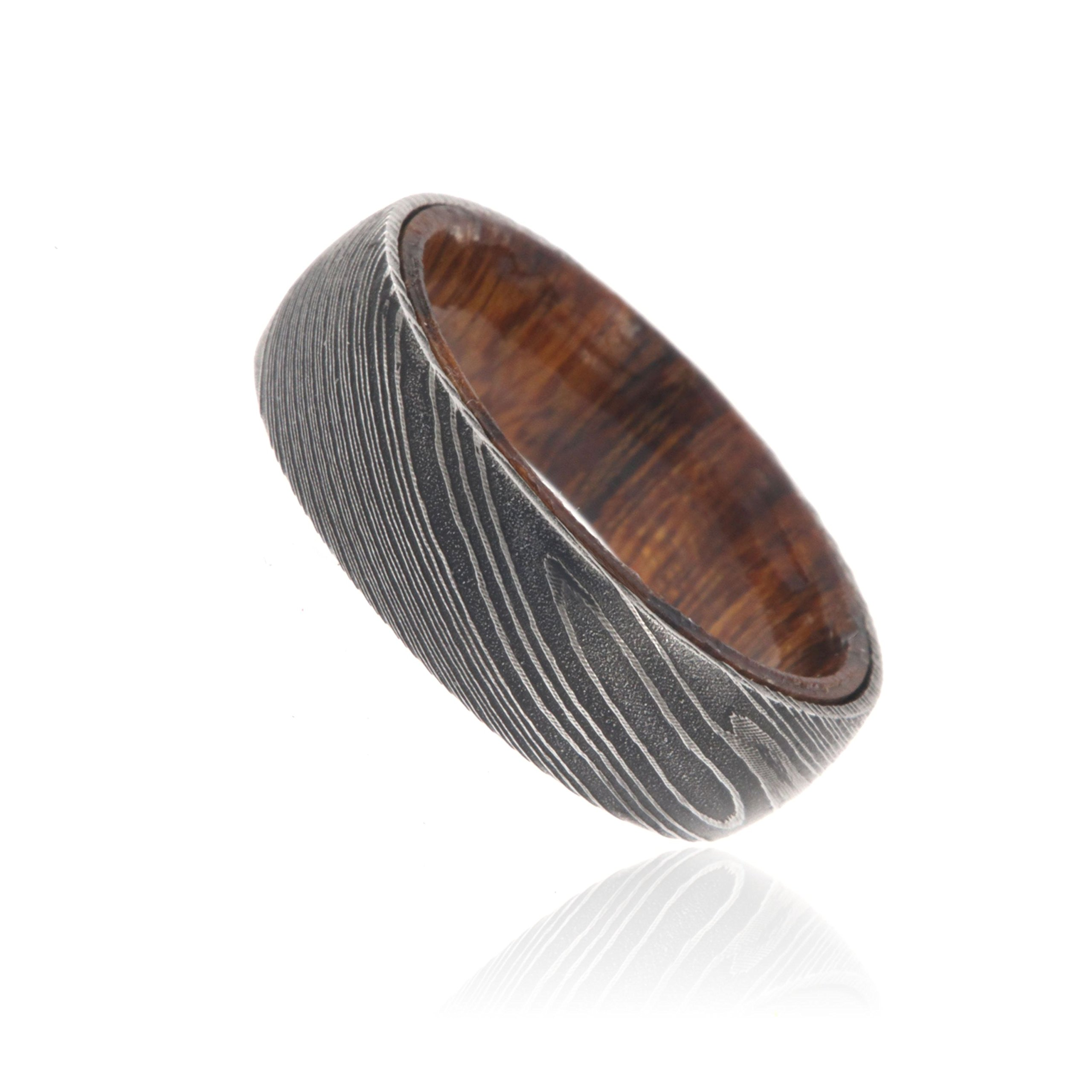 7mm Wide Damascus Steel Ring Etched Damascus Steel Bands Wedding Rings with a Iron Wood Sleeve