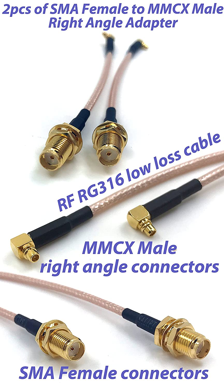 8 inch Pack of 2 RF RG316 Pigtail SMA Female Antenna Connector to MMCX Male Coaxial Cable Adapter Right Angle 20.3 cm